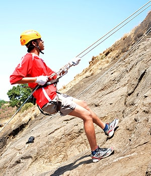 Rappelling at Della Adventure Park
